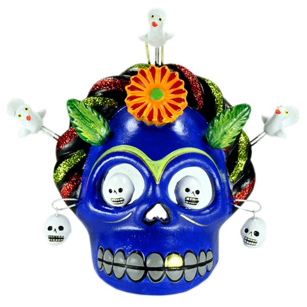 Blue Frida Skull Mask