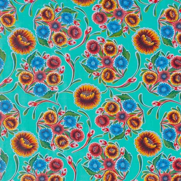 Wachstuch Floral Aqua