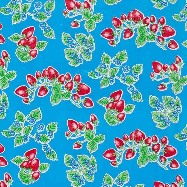Wachstuch Erdbeere Blau
